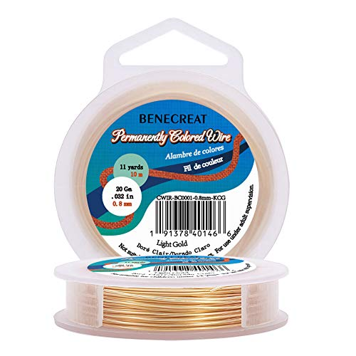 BENECREAT 20-Gauge Light Gold Copper Wire Tarnish Resistant Wire, 33-Feet/11-Yard, for Jewelry Craft Making