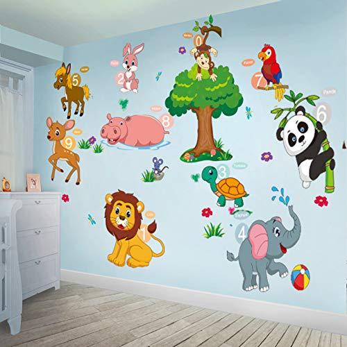 TAOYUE Olifant Leeuw Panda Paard Muurstickers PVC DIY Animal Tree muurstickers voor Kids kamer Baby Slaapkamer Decoratie