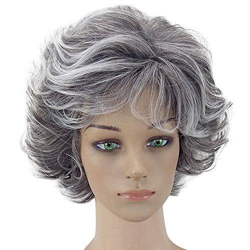 Coomir 30 cm Femmes Bouclés Ondulés Court Perruque Naturel Cheveux Synthétiques Mascarade Parti Fille Cosplay Pleines Perruques