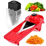 Geedel V-Pro Mandoline Slicer, Adjustable Food/Vegetable Slicer with Interchangeable Blades and Blades Container