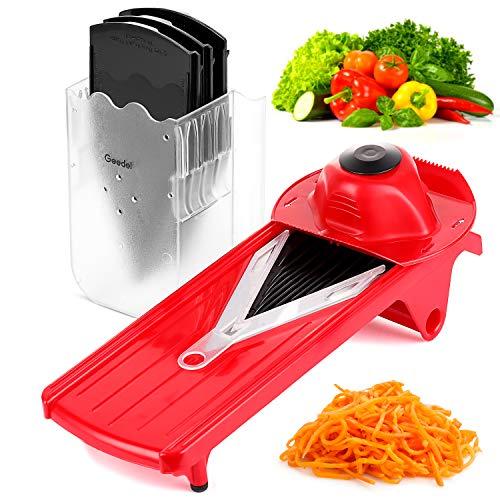 Geedel VPro Mandoline Slicer Adjustable Food/Vegetable Slicer With Interchangeable Blades and Blades Container Julienne Slicer Grater for All Fruit and Veggies