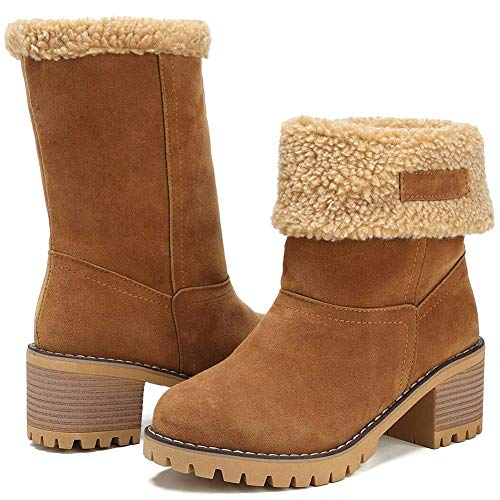 Lishiny Women Winter Snow Boots Warm Suede Chunky Heel Outdoor Mid-Calf Ankle Boots (Camel,38)