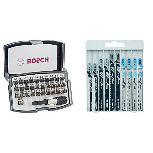 Bosch Professional 32tlg. Bit Set (Zubehör für Schraubanwendungen) & Professional 10tlg. Stichsägenblätter Set Basic (Metall und Holz, Zubehör für Stichsägen mit T-Schaftaufnahme)