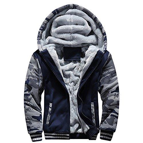 FRAUIT Herren Winterjacke Männer Camouflage Zipper Langarm Jacken Mantel Windbreaker, Windjacke Kapuzenjacke Streetwear Herren/Jungen Warm Parka Kleidung Top Outwear M-5XL (XXL, U-Blau)