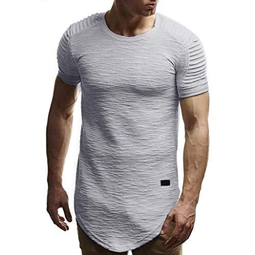 Berimaterry Camisetas Hombre Manga Corta Moda Personalidad Camuflaje Hombres Slim Manga Corta Camisa Blusa Superior Cuello en V de Color sólido Slim Fit Daily Shirts Top Blusa Party Beach