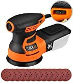 Orbital Sander 6 Variable Speed 350W 13000 RPM 125mm Sandpapers 3M Power Cord 12 Pcs Sandpapers, Efficient Dust Collector, Ideal for DIY, Sanding, Polishing Wood/TACKLIFE PRS01A