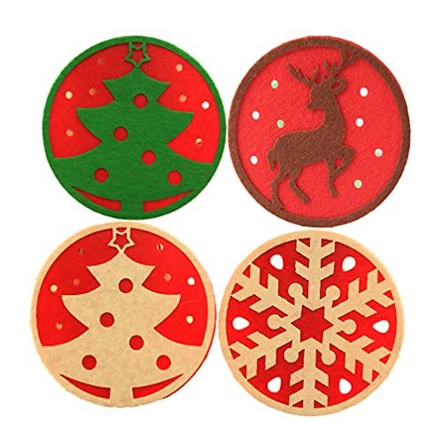 FOMIYES Posavasos con temática de Navidad roja de fieltro redondo de tela...