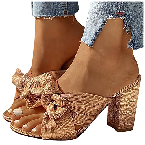 BIBOKAOKE Sandalias de mujer de tacón alto, sandalias con lazo, zapatos elegantes...