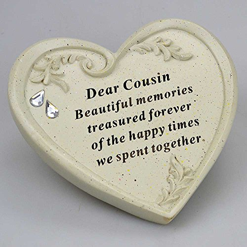 Angraves Special Cousin Diamante Textured Heart Graveside Memorial Ornament Plaque