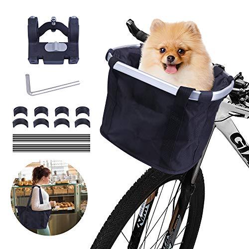 Fahrrad vorne Körb Faltbar,Hundefahrradkörbe,Fahrradkörb vorne 2 in 1,mit Schnellentfernun Lenkeradapter,Korbtragetasche/Haustierträger Oxford Tuch,Einkaufstasche,für Katze,Picknick,Elektrofahrräder