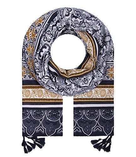 Majea Schal Damen Tuch Kopftuch Halstuch Schals und Tücher mit Muster Stola (blau 12)