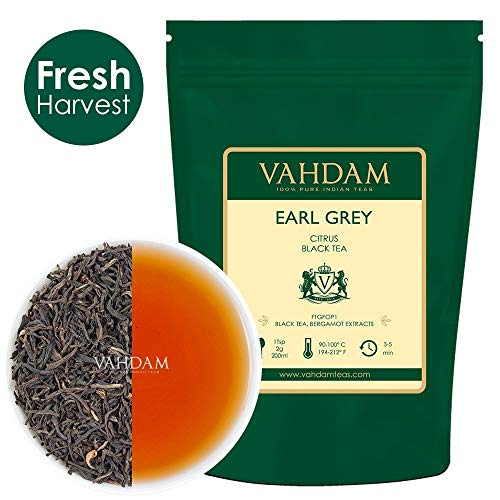 VAHDAM, Earl Grey Tea Leaves (200+ Cups) CITRUSY & DELICIOUS - Brew Iced Tea or Hot Tea, Black Tea blended with 100% Natural Oil of Bergamot, NATURAL SOURCE OF ANTI-OXIDANTS, 16-ounce Bag