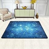 ISAOA Blue Universe - Alfombra moderna y cómoda de 0,9 x 0,6 m, duradera para puerta, cocina, comedor, salón, baño, entrada de mascotas