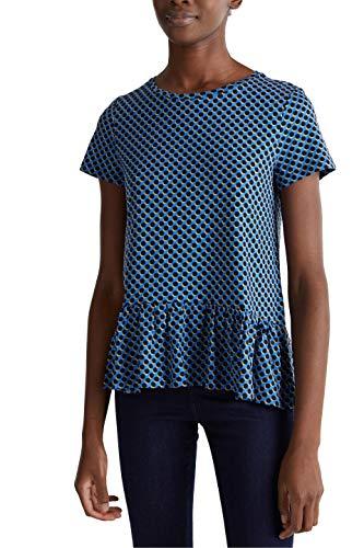 ESPRIT Damen 020EE1K408 T-Shirt, Blau (Blau 443), M
