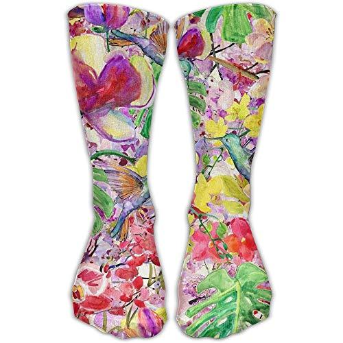 KLING Calcetines clásicos para hombres y mujeres Pájaros carpinteros Pintura con flores Medias atléticas Calcetines largos Talla única 30 cm