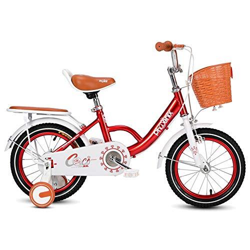 FUFU 12 / 14inch De La Bici De Los Niños con El Entrenamiento De Ruedas For 2-5years Old Girls, Bicicleta De Niño con El 85% Montado, Rosa, Rojo, Púrpura (Color : Red, Size : 12in)