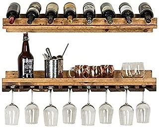 Del Hutson Designs - Rustic Luxe Tiered Wine Rack, USA Handmade, Pine Wood (Dark Walnut)
