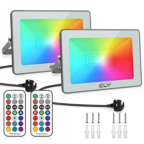 CLV 2 Pack 25W LED RGB Floodlight, Outdoor/Indoor Colour Changing Flood...