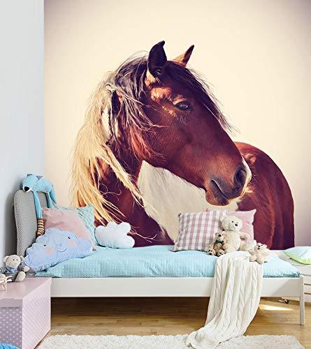 Bilderdepot24 Fototapete selbstklebend Pferd Portrait - Vintage - 200x200 cm | Moderne Wand-deko Dekoration Wohnung Wohnzimmer Wandtapete | 501096