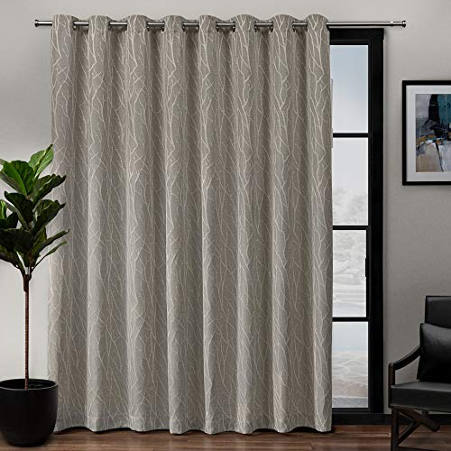 Exclusive Home Curtains Forest Hill Patio Woven Room Darkening Blackout Grommet Top Single Curtain Panel, 108X84, Natural