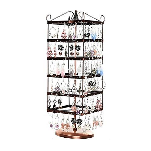 SSMDYLYM Caja de Almacenamiento del Soporte de la exhibición de la joyería 288 Orificios de 6 Capas de 6 Capas Pendientes giratorios de la joyería del Collar de la joyería
