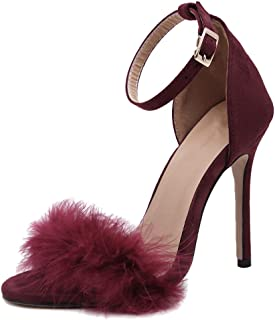 Women's Fluffy Feathers Ankle Strap Stiletto High Heels Dress Sandals