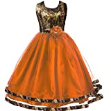 YINGJIABride Ankle Length Camo and Tulle Flower Girl Dress Wedding Guest Bridesmaid Gowns Orange Child 14