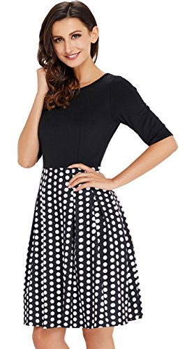 UniSweet Women's Vintage Black Dot Patchwork Puffy Swing Casual Dress Wedding Cocktail Women Womens Dresses Party Maternity (M, Black) UDRS111-B1-M