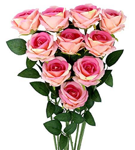 10 Piezas de Ramos de Flores Rosas Artificiales, Rosa de Seda sintética, decoración de la Oficina en casa del Banquete de Boda