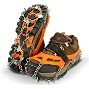 IPSXP Traction Cleats, Ice Snow Grips Crampons for Footwear with 19 Stainless Steel Spikes for Walking, Jogging, Climbing, Hiking on Snow and Ice (M/L/XL)