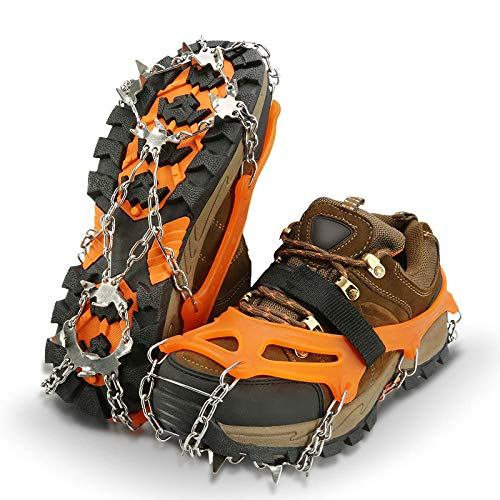 IPSXP Traction Cleats, Ice Snow Grips Crampons for Footwear with 19 Stainless Steel Spikes for Walking, Jogging, Climbing, Hiking on Snow and Ice - L