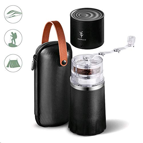 PERFECT GIFT -Soulhand Portable Coffee Grinder Set,Manual Coffee Grinder with Adjustable Ceramic Burr and Foldable Hand Crank, All -in-One Coffee Maker for Travel Camping Working Office (with Storage bag -Black)