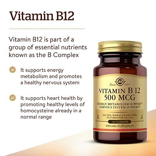 Solgar Vitamin B12 Tablets, 500 mcg, 100 Count