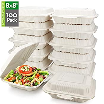HeloGreen [100 Count] Eco Friendly Take Out Food Containers  8 x8  1-Compartment  - Non Soggy Leak Proof Disposable To Go Containers Boxes Made From Cornstarch - Microwave Safe