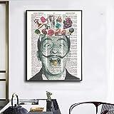Abstracto Salvador Dalí En Pinturas De PerióDicos Poster Creativos Impresiones Lienzo Divertido Cuadros ArtíSticas De Pared para La Salon De Estar Decoracion del Hogar 60x80cm Sin Marco