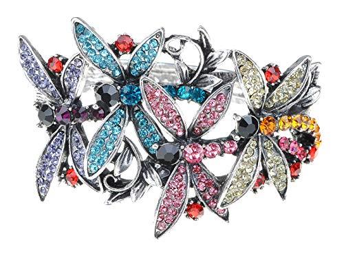 Alilang Pulsera para mujer brillante colorida con diamantes de imitación, diseño de libélula