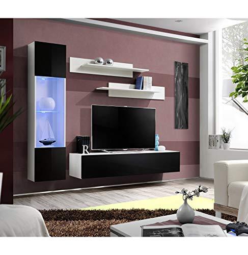 Banc TV avec LED - 4 éléments - Noir et blanc