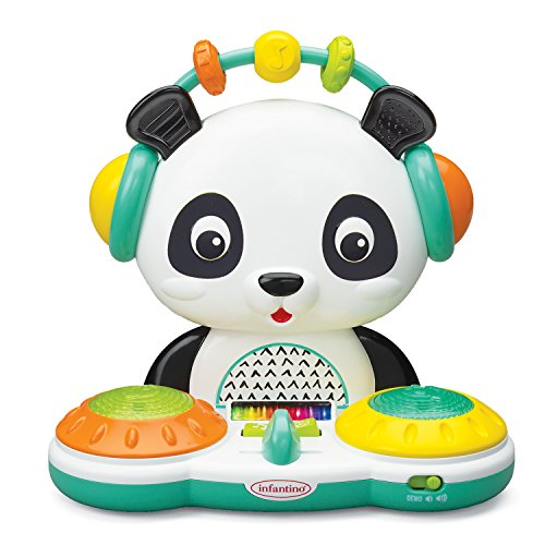 Infantino Spin & Slide DJ Panda - Musical Toy with Busy Beads, Light-up Turntable Drums, Funky Beats, switches, Silly Songs and 2 Volume Settings, for Babies and Toddlers