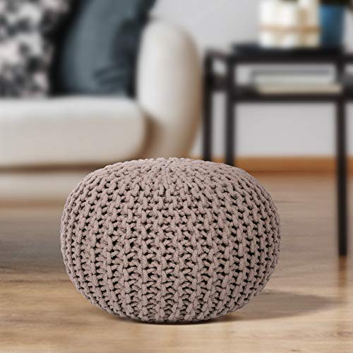 EHC 100 Percent Cotton Round Handmade Double Knitted Foot Stool with Braided Cushion Pouffe - Latte
