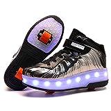 Zapatillas Deportivas LED para Niños LED Iluminado Zapatillas con Ruedas USB Recargable Skate Zapatillas Ajustable Rueda Roller Doble Rueda Patines Al Aire Libre Skateboard Sneaker Calzado de DEPO