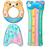 balnore Pool Floats for Kids,3pcs Pool Floaties Toys for Kids, Inflatable Bear Swimming Rings Tubes, Floating Board, Rainbow Water Toys Floats for Kids, Swimming Beginner Beach Party Supplies