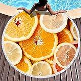 JEFFERS Runde Stranddecke mit Quaste, super saugfähig, Strandtücher, Früchte, Zitrone,...