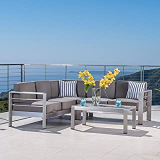 Cape Coral Outdoor Aluminum 4-piece Sofa Set with Cushions by Christopher Knight Home