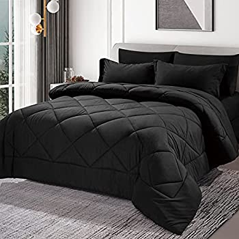 CozyLux Full/Queen Bed in a Bag 7 Pieces Comforter Sets with Comforter and Sheets Black All Season Bedding Sets with Comforter Pillow Shams Flat Sheet Fitted Sheet and Pillowcases