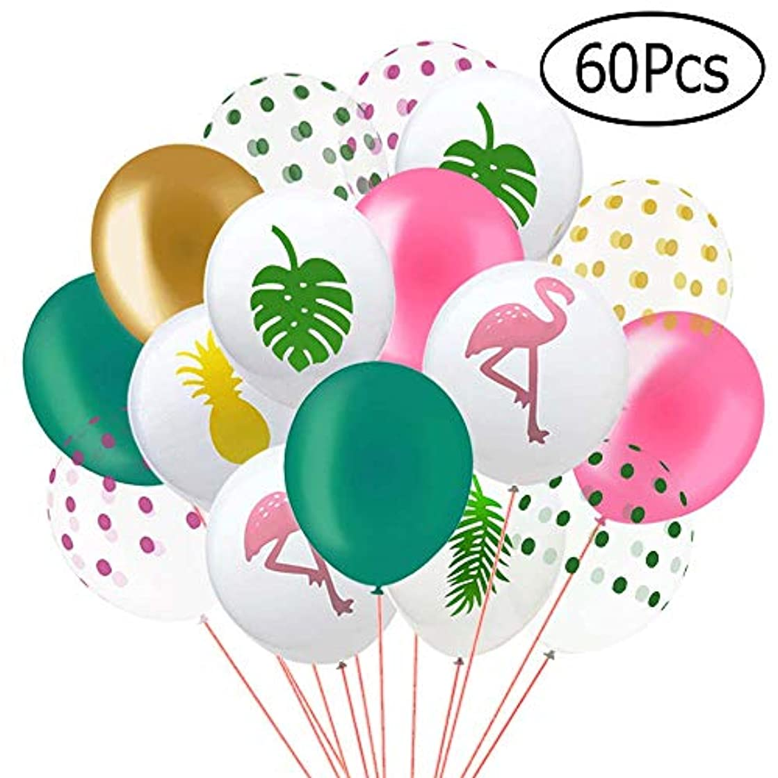Aniann 60 Pack Hawaii Tropical Party Balloons, 12 Inches Flamingo Pineapple Tropical Leaf Round Dots Latex Party Balloons with Dots for Hawaii Luau Party Decorations Birthday Wedding Decorations