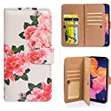 Galaxy A10e Wallet Case,Bcov Red Peony Green Leaf Multifunction...