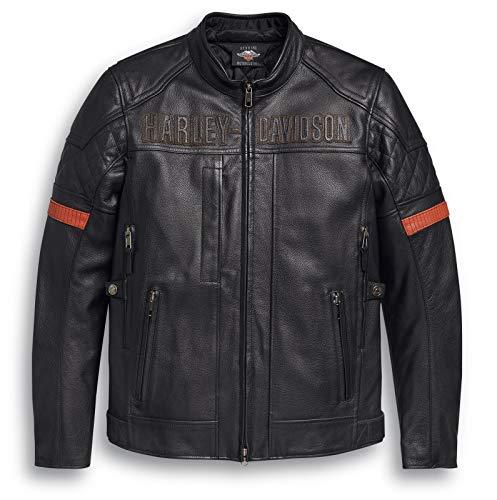 HARLEY-DAVIDSON Herren Vanocker Motorradjacke Biker Lederjacke mit Protektoren für Männer Wasserdicht Protektorenjacke, XL