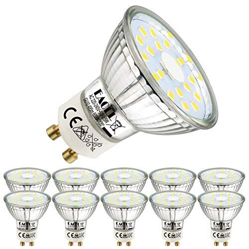 EACLL Bombillas LED GU10 6000K Blanca Fría 5W Fuente de Luz 495 Lúmenes Equivalente 50W Halógena. AC 230V Sin Parpadeo Focos, 120 ° Spotlight, Luz Diurna Blanco Frio Lámpara Reflectoras, 10 Pack