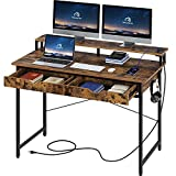 Rolanstar Computer Desk with 2 Drawers and Power Outlet, 47' Home Office Writing Desk with Monitor...
