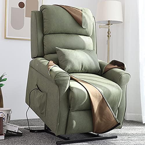 DJLOOKK Sillón reclinable eléctrico con Elevador eléctrico, sillón Auxiliar de elevación para Personas Mayores, con apoyos lumbares y Bolsillos Laterales,Verde